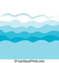 kék, vektor, tenger, waves-, háttér