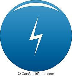 kék, vektor, villámlás, ikon