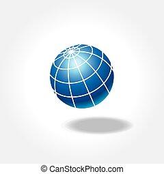 kék, világ földgolyó, árnyék, ikon