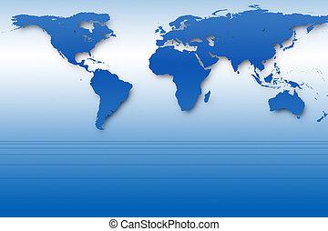 kék, világ térkép