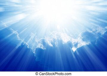 kék, világos ég, nap