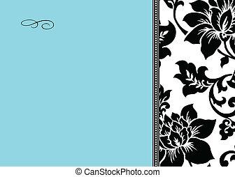 kék, virágos, vektor, black háttér