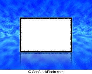kék, visszaverődés, fénykép keret, ég, ellen, víz, üres