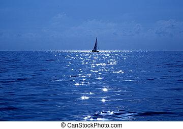 kék, vitorlás hajó, tengertől távol eső, vitorlázás, tenger