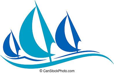 kék, vitorlázás, az eredményeképpen, stilizált, lenget, csónakázik