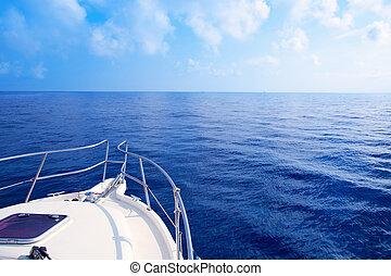 kék, vitorlázás, tengertől távol eső, íj, tenger, csónakázik