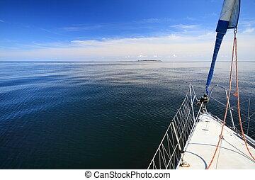 kék, vitorlázás, vitorlás hajó, jacht, sea., idegenforgalom