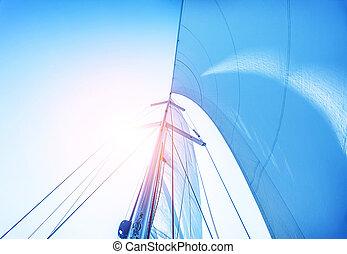 kék, vitorlázik, ég, háttér