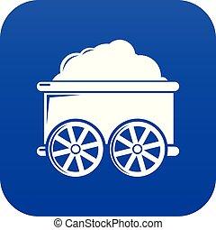 kék, wagon kíséret, vektor, ikon