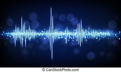 kék, waveform, audio, háttér