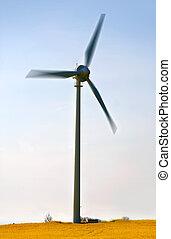 kék, windmills, ég, ellen