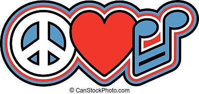 kék, zene, béke, szeret, piros