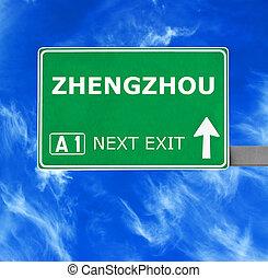 kék, zhengzhou, tiszta égbolt, ellen, aláír, út