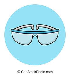 kémia, megtöltött, safety., szemüveg, tervezés, védőszemüveg, laboratórium, vektor, science., ikon