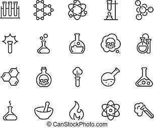 kémiai, egyenes, ikonok