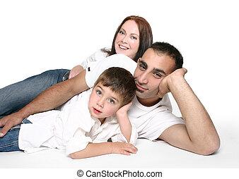 kényelmes, család, emelet