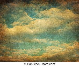 kép, ég, retro, felhős