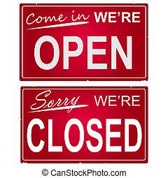 "kép, ügy, signs., ""open"", ""closed"""