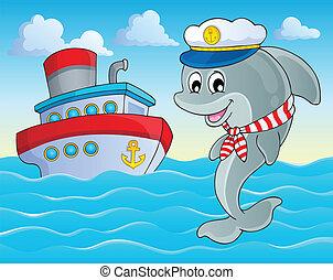 kép, 2, delfin, téma