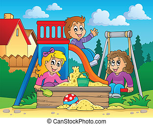 kép, 2, téma, játszótér