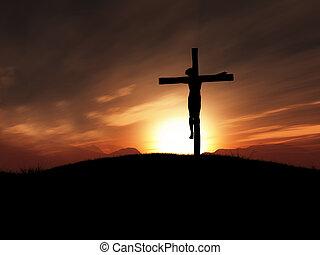 kép, 3, napnyugta, kereszt, jézus