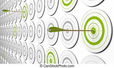 kép, around., ez, néhány, nyílvesszö, két, targets., szürke, zöld, kilátás, középcsatár, céltábla, 3, csapó, oda