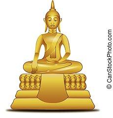kép, buddha, mód, vektor, arany-