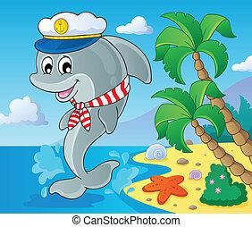 kép, delfin, téma, 3