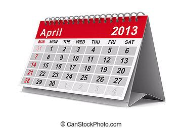 kép, elszigetelt, calendar., april., év, 2013, 3