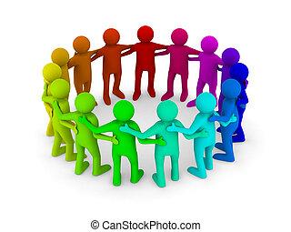 kép, elszigetelt, teamwork., fogalmi, fehér, 3