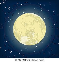 kép, eps, hold, vektor, 8, night.