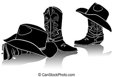 kép, fekete, hats., backg, grafikus, cowboy csizma, western, fehér