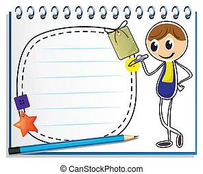 kép, fiú, írás, jegyzetfüzet
