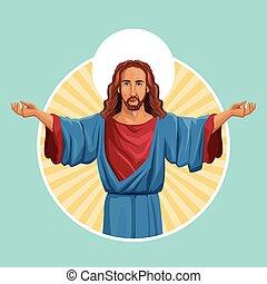 kép, jézus, vallásos, krisztus, címke