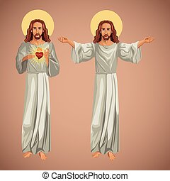 kép, jesus christ, két, kereszténység