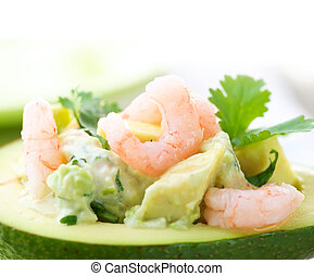 kép, közelkép, avokádó, salad., garnélarák