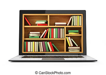 kép, library., internet, fogalmi, e-learning, oktatás, vagy