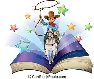 kép, lovaglás, könyv, ló, cowboy, nyílik