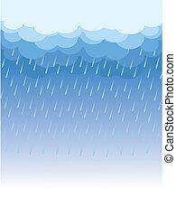 kép, nedves, nap, elhomályosul, raining., vektor, sötét
