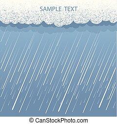 kép, nedves, nap, eső felhő, háttér., vektor, sötét