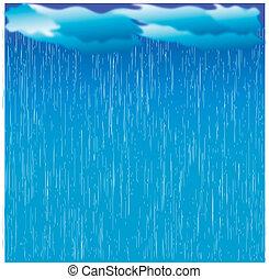 kép, nedves, nap, rain., elhomályosul, vektor, sötét