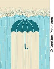 kép, rain., kéz, elhomályosul, vektor, sötét, esernyő, húzott