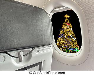 kép, repülőgép, karácsony, szék, fa
