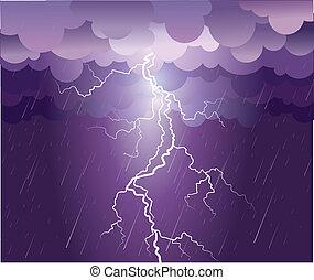 kép, strike., eső felhő, vektor, sötét, villámlás