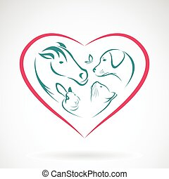 kép, szív, vektor, állat alakzat