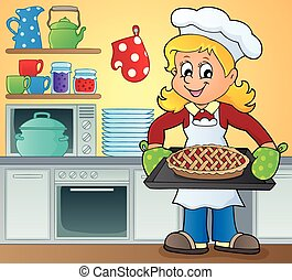 kép, szakács, női, téma, 9