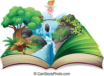 kép, tündér, könyv, vidék, nyílik