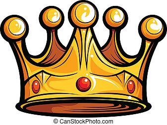 kép, vagy, királyság, vektor, király, karikatúra, fejtető
