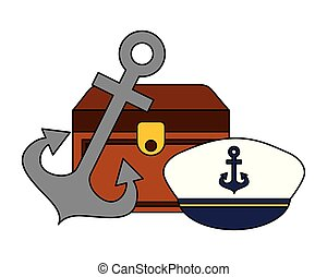 kép, vasmacska, kalap, láda, tengeri