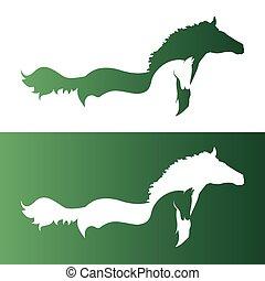 kép, vektor, két, horse.